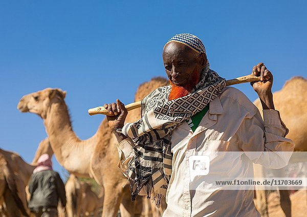 Man with a red beard in the camel market  Oromia  Babile  Ethiopia.