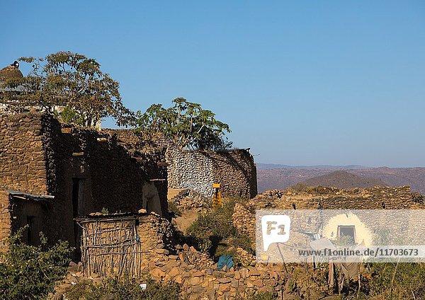 Traditional Argoba stone houses village  Harari Region  Koremi  Ethiopia.