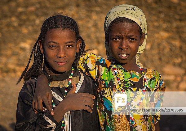 Portrait of two Argoba girls  Harari Region  Koremi  Ethiopia.