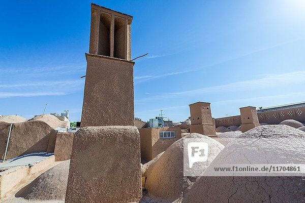 Windtower (Badgir) seen from the roofs of bazaar in Yazd  capital of Yazd Province of Iran.