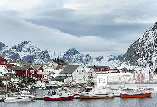 Hamnoya near village Reine on the island Moskenesoya. The Lofoten Islands in northern Norway during winter. Europe  Scandinavia  Norway February.
