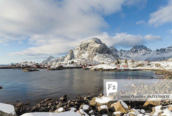 Village A i Lofoten on the island Moskenesoya. The Lofoten Islands in northern Norway during winter. Europe  Scandinavia  Norway February.