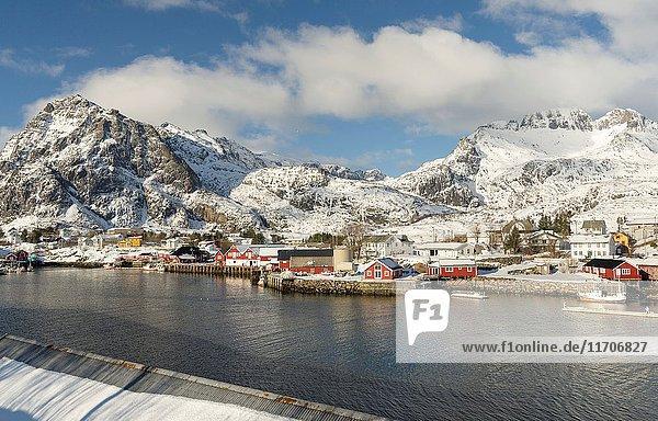 The harbour of Sorvagen on the island Moskenesoya. The Lofoten Islands in northern Norway during winter. Europe  Scandinavia  Norway February.