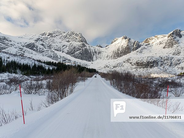 Landscape with country road on the island of Flakstadoya. The Lofoten Islands in northern Norway during winter. Europe  Scandinavia  Norway February.