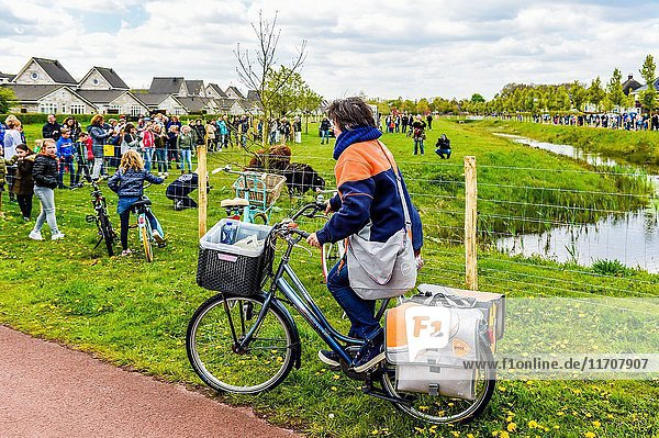 Roosendaal - Netherlands - Cool woman male courier person character riding bicycle with delivery box. Courier bicycle delivery service.