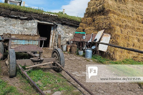 Old agricultural equipment  haystack and countryside house  Bokdajeni village  Georgia.