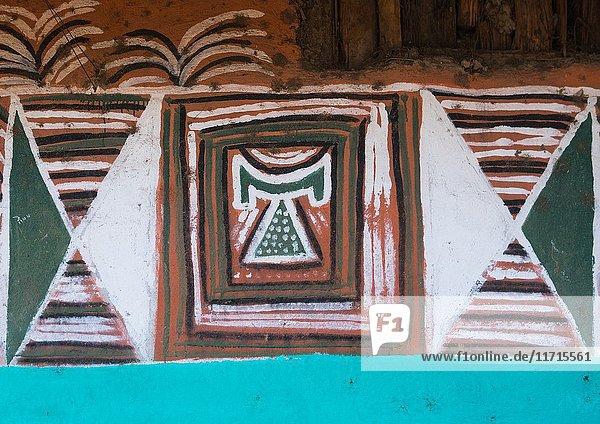 Headrest on a a painted house  Kembata  Alaba Kuito  Ethiopia.