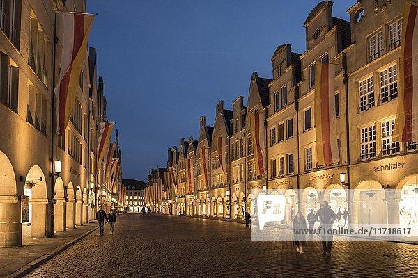 Gabled houses at the Prinzipalmarkt at night  Münster  North Rhine-Westphalia  Germany  Europe