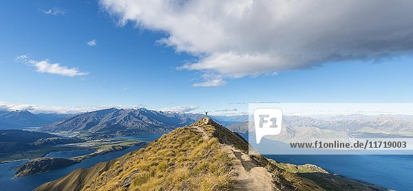 Ausblick auf Berge und See  Frau steht auf Gipfelgrat  Roys Peak  Lake Wanaka  Südalpen  Otago  Südinsel  Neuseeland  Ozeanien