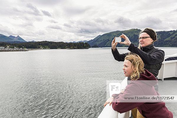 Young girl on the deck of a Alaska Marine Highway ferry  Homer  Kenai Peninsula  Southcentral Alaska  usA