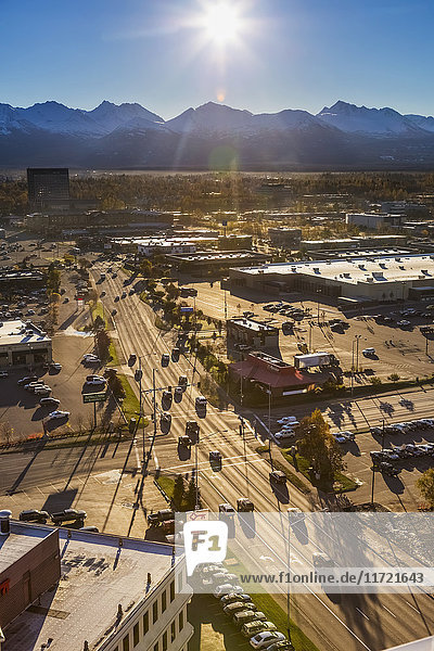 Aerial view of traffic on Benson Boulevard on a sunny autumn day  Anchorage  Southcentral Alaska  USA