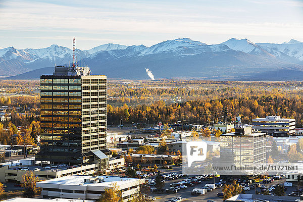 Aerial view of office buildings in midtown Anchorage during autumn with the Chugach Mountains in the background  Southcentral Alaska  USA