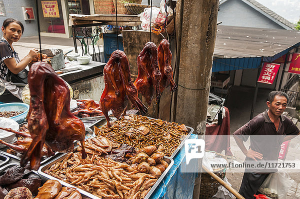 'Famous roasted duck  sold in the streets of Chongqing City; Chongqing  Chongqing province  China'