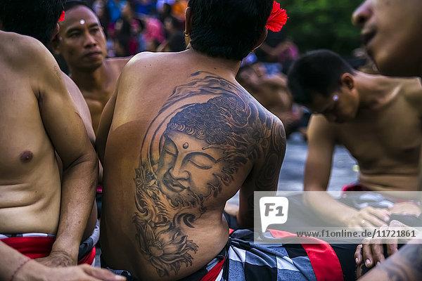 'Traditional Kecak ritual  also called Fire Dance; Uluwatu  Bali Island  Indonesia'
