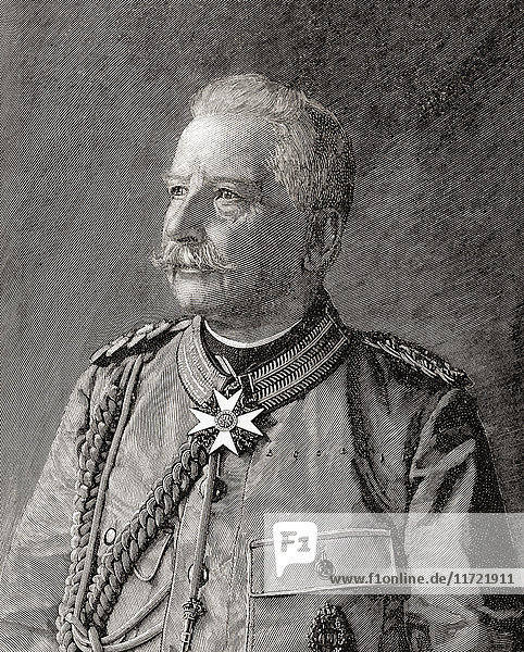 Alfred Ludwig Heinrich Karl Graf von Waldersee  1832 - 1904. German field marshal. From The Century Edition of Cassell's History of England  published c. 1900