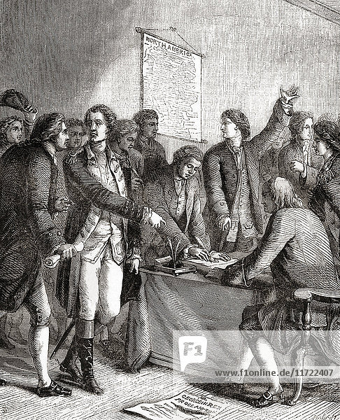 Signing the Declaration of American Independence  Philadelphia  Pennsylvania  USA  1776. From Cassell's Illustrated History of England  published 1861.