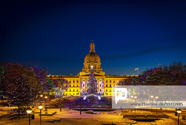 'Alberta Legislature building illuminated and a Christmas tree with colourful lights on the trees for decoration at Christmas time; Edmonton  Alberta  Canada'