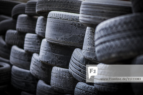 'A pile of old  worn tires; Regina  Saskatchewan  Canada'