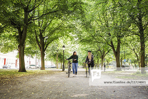 Two young women walking in park and pushing bikes