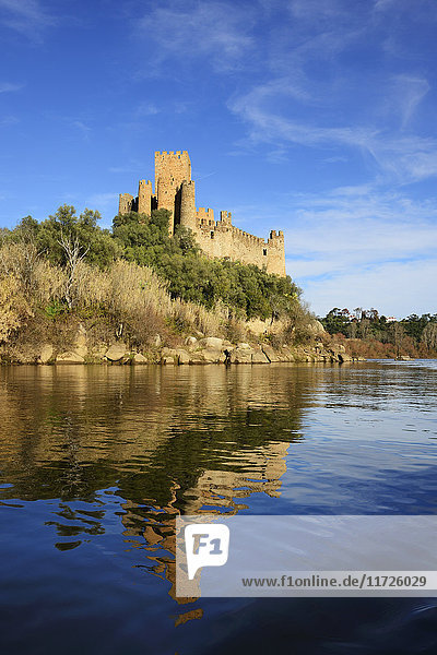 The 12th century mighty Templar castle of Almourol  in the middle of an island in the Tagus river  Portugal
