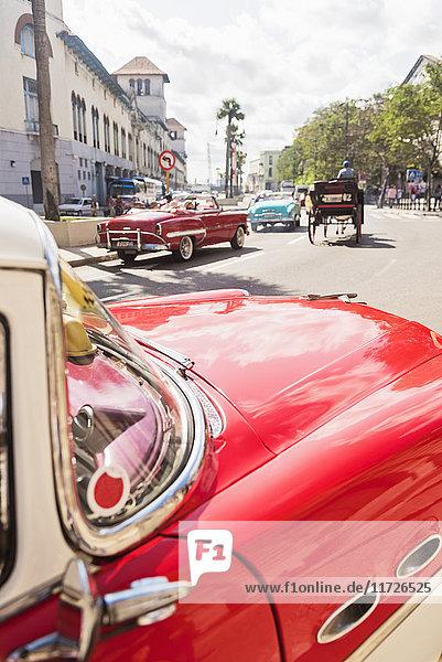 Cuba  Havana  Red vintage car in street Cuba, Havana, Red vintage car in street