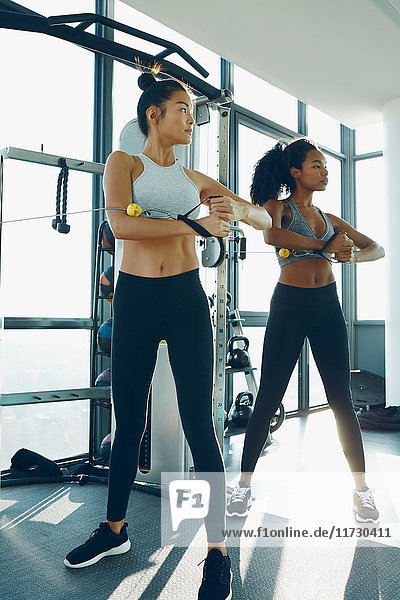 Zwei junge Frauen trainieren im Fitnessstudio und benutzen dabei Fitnessgeräte