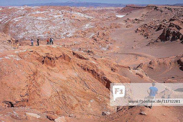 Valle de la Luna (Valley of the Moon) and salt deposited on the ground  Atacama desert. Region de Antofagasta. Chile.