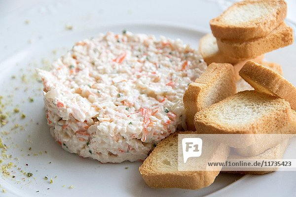 Russian salad with toast bread.