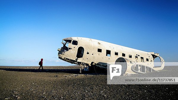 Iceland  Solheimasandur  US Navy DC plane wreckage  it crashed on a black sand beach in 1973  Model Released