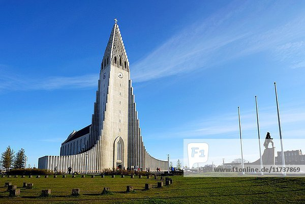 Iceland  Reykjavik  Hallgrimskirja (Hallgrim or Hallgrimur)  the cathedral of Reykjavik  in concrete  it is 75m-high and among the tallest structures in Iceland