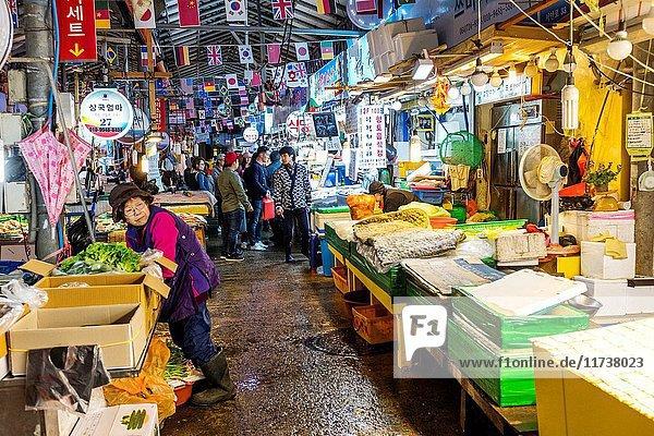Fish market in Jeju Dongmun market  Korea