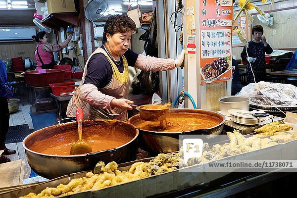 Food stall in Jeju Dongmun market  Korea