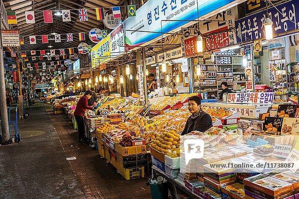 Fruits stalls in Jeju Dongmun market  Korea