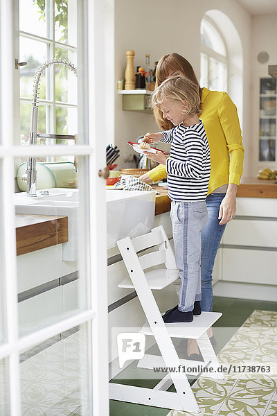 Mother and son doing washing up  young boy standing on chair