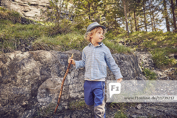 One young boy  holding stick  exploring forest
