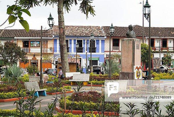 The central plaza in Filandia  Colombia  South America.