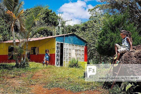 Local house at Chamarel village  South Mauritius  Africa.