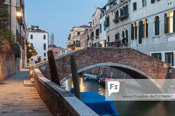 Night falls in Dorsoduro district of Venice  Italy.