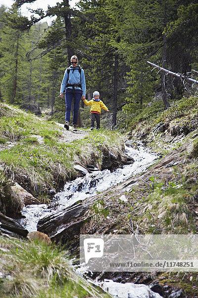 Mutter und Sohn  Händchen haltend  Wald erkunden