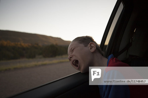 Boy leaning out of car window with eyes closed and mouth open