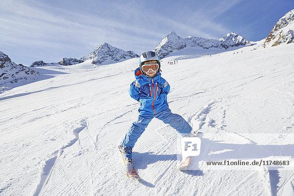 Boy skiing  Stubai  Tyrol  Austria