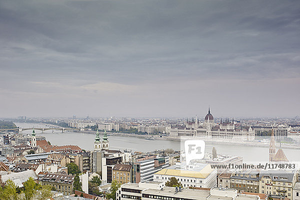 Skyline of Budapest from fisherman's bastion by day  Parliament across the Danube  Hungary