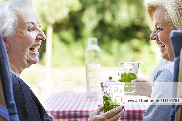 Two women relaxing in garden  drinking cold drink  laughing