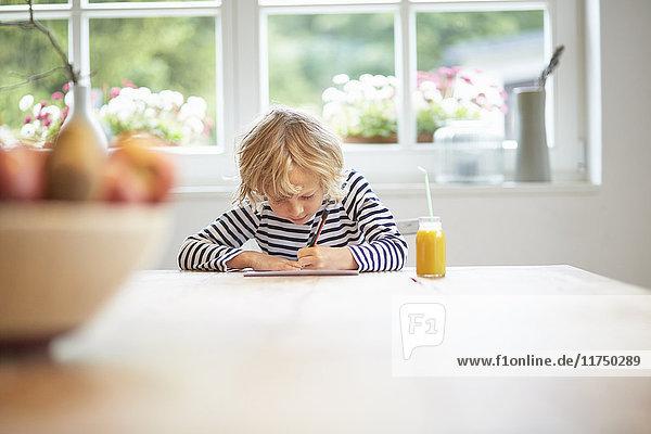 Junge sitzt am Tisch und zeichnet auf Papier