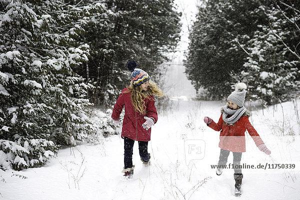 Schwestern spielen im Schnee