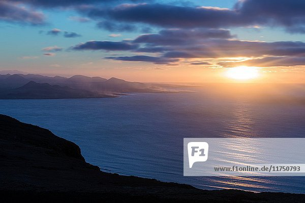 View at sunset time at Mirador del Rio in Lanzarote