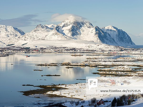 View over Ramsvikbukta and Buksnesfjorden near Leknes  island Vestvagoy. The Lofoten islands in northern Norway during winter. Europe  Scandinavia  Norway  February.