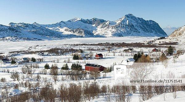 View from Torvdalshalsen  landscape near Leknes  island Vestvagoy. The Lofoten islands in northern Norway during winter. Europe  Scandinavia  Norway  February.