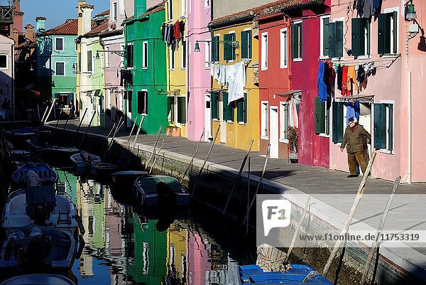 Italy  Veneto  Venice  listed as World Heritage by UNESCO  colourful houses in the village of Burano island