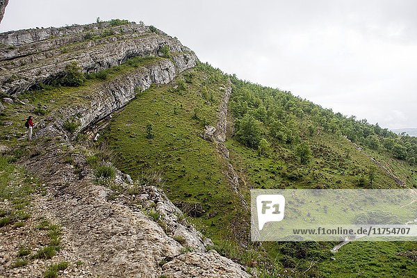 Rocky folds in the geological itinerary The Forces of the Earth. World Geopark Las Loras. UNESCO Global Geopark. Locality of Rebolledo de la Torre. Burgos. Castilla y León. Spain.